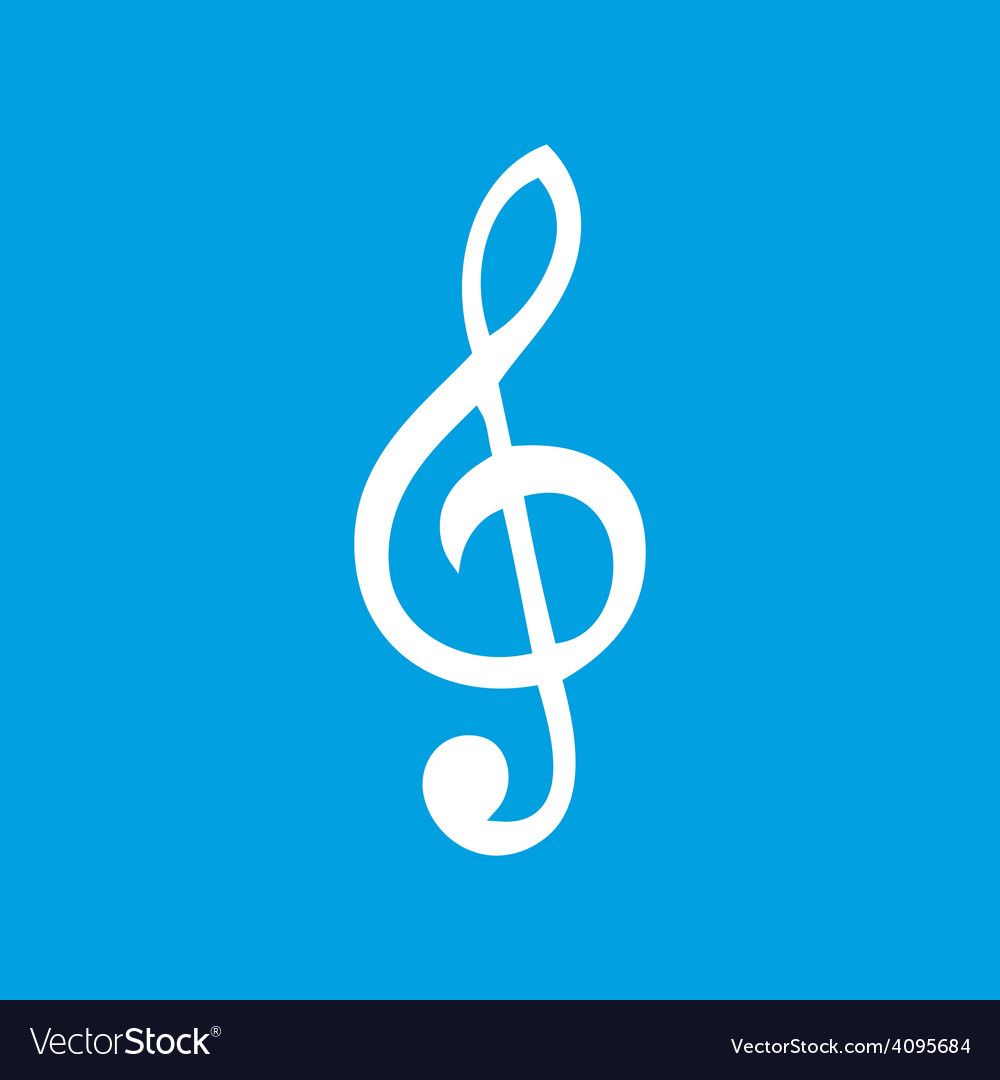 Treble clef white icon vector | Price: 1 Credit (USD $1)