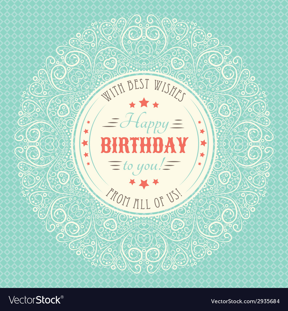 Vintage happy birthday card typography letters vector   Price: 1 Credit (USD $1)
