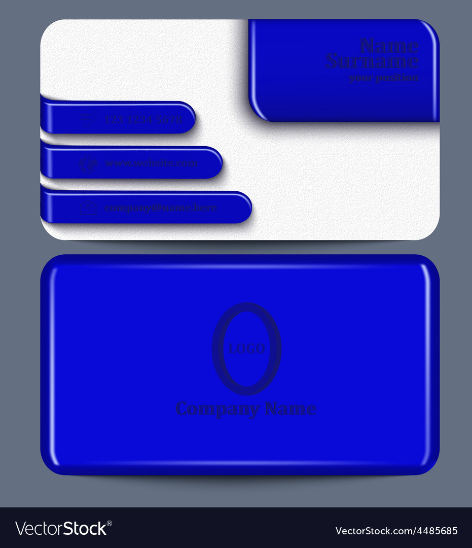Business card with blue plastic elements vector | Price: 1 Credit (USD $1)