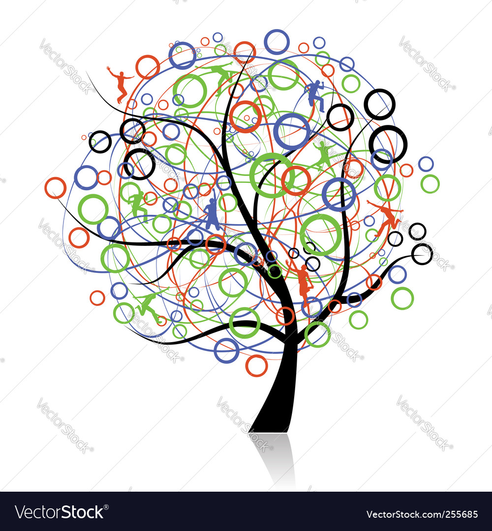 Connecting peoples web tree vector | Price: 1 Credit (USD $1)