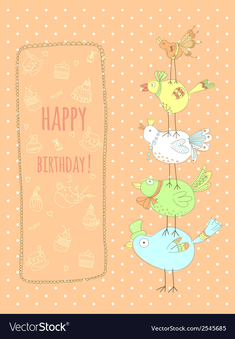 Doodle birthday card with birds vector | Price: 1 Credit (USD $1)