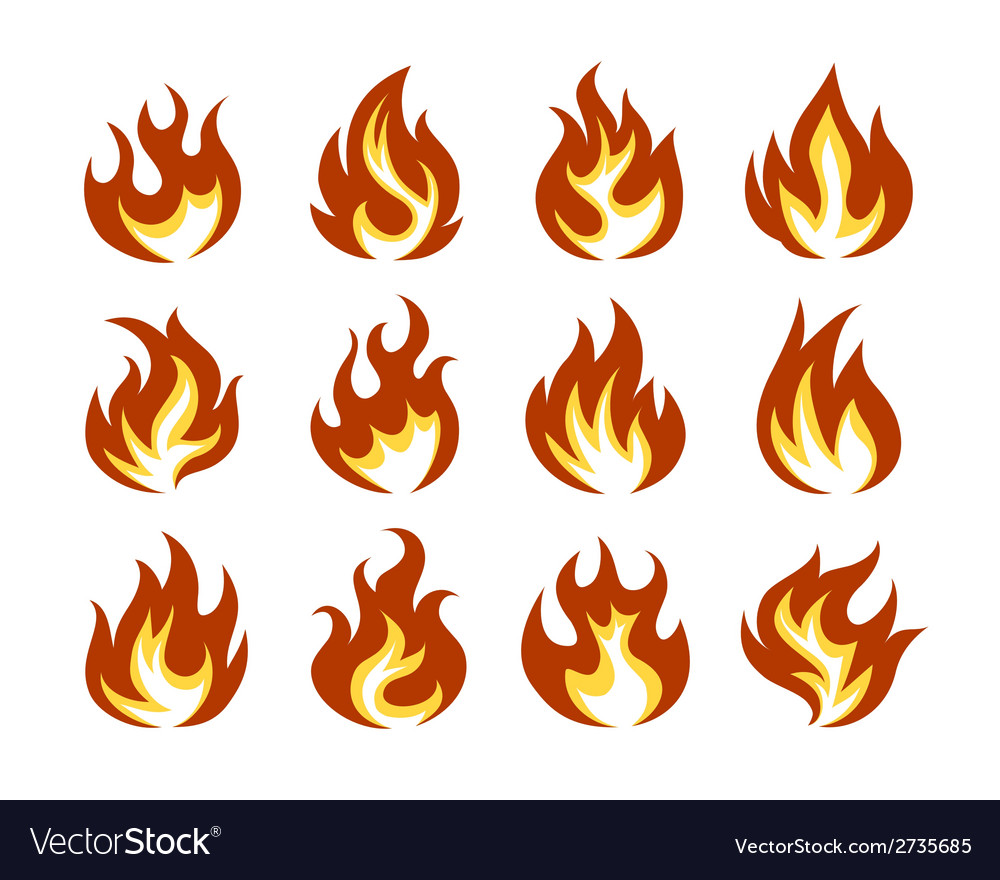 Fire flame icon set in flat style vector | Price: 1 Credit (USD $1)
