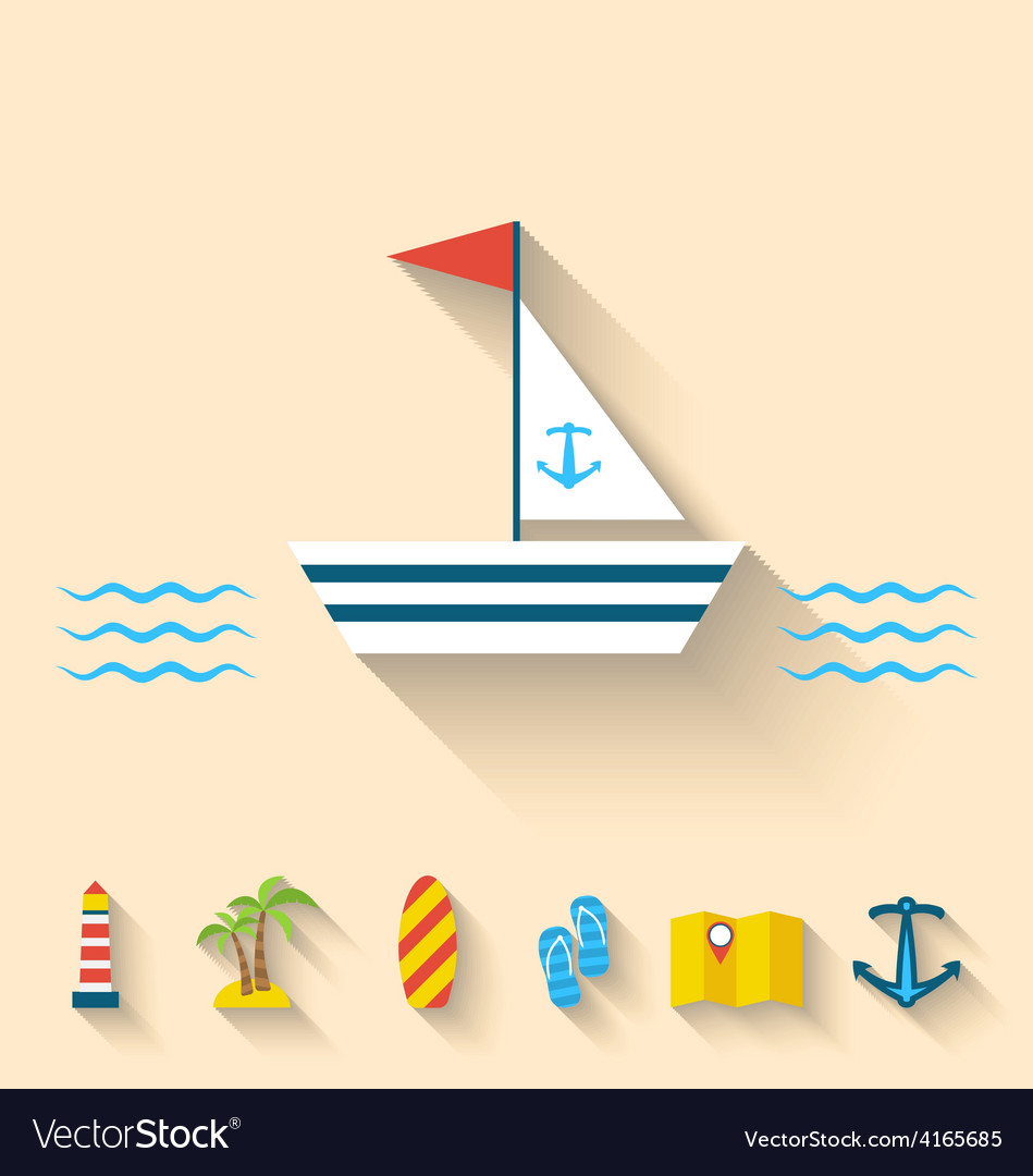Flat set icons of cruise holidays and journey vector | Price: 1 Credit (USD $1)