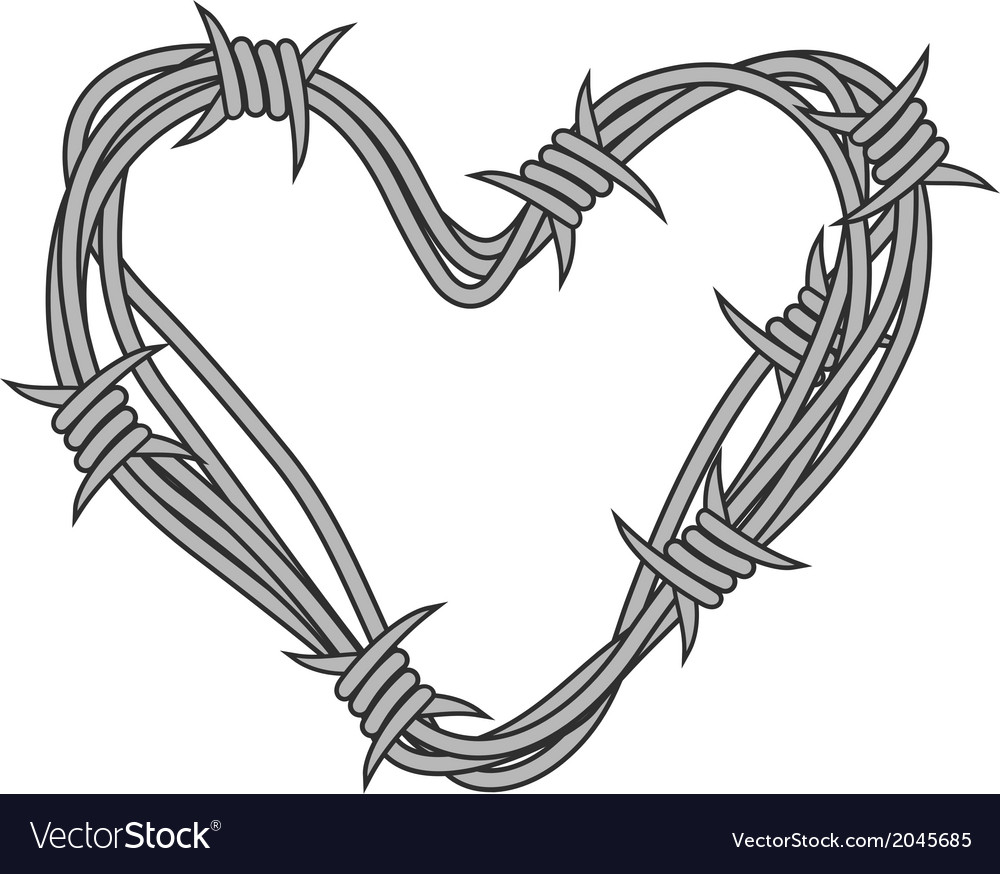Heart in barbed wire vector | Price: 1 Credit (USD $1)