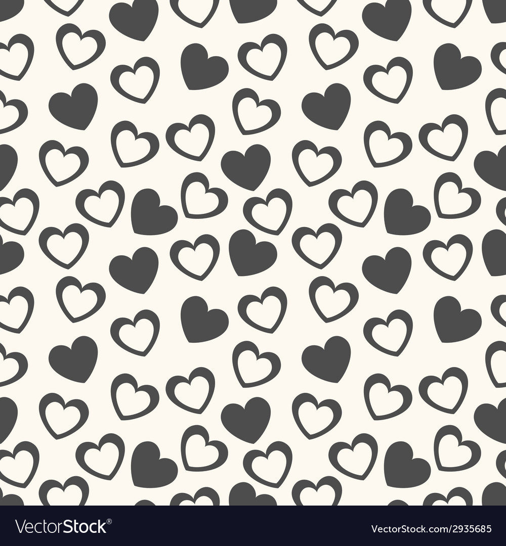 Heart shape seamless pattern black and white vector | Price: 1 Credit (USD $1)
