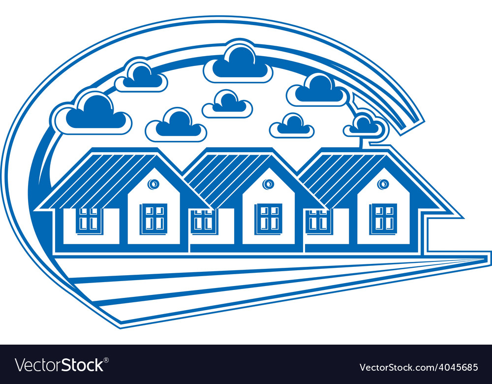 Houses detailed village idea graphic country hous vector | Price: 1 Credit (USD $1)