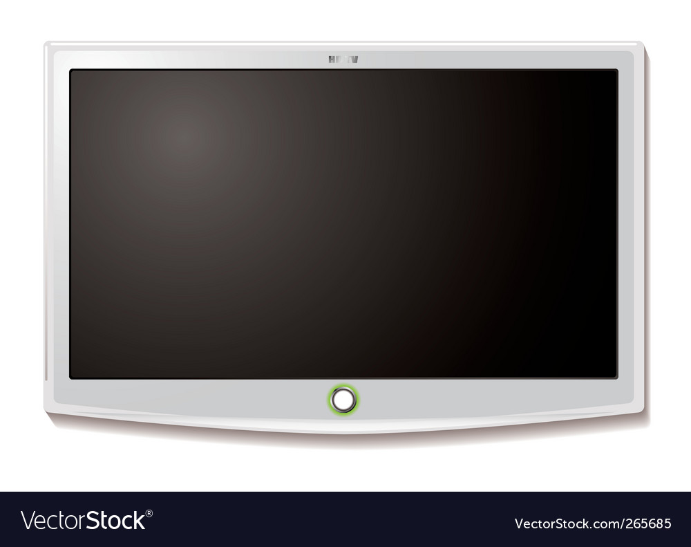 Lcd tv wall hang white vector | Price: 1 Credit (USD $1)