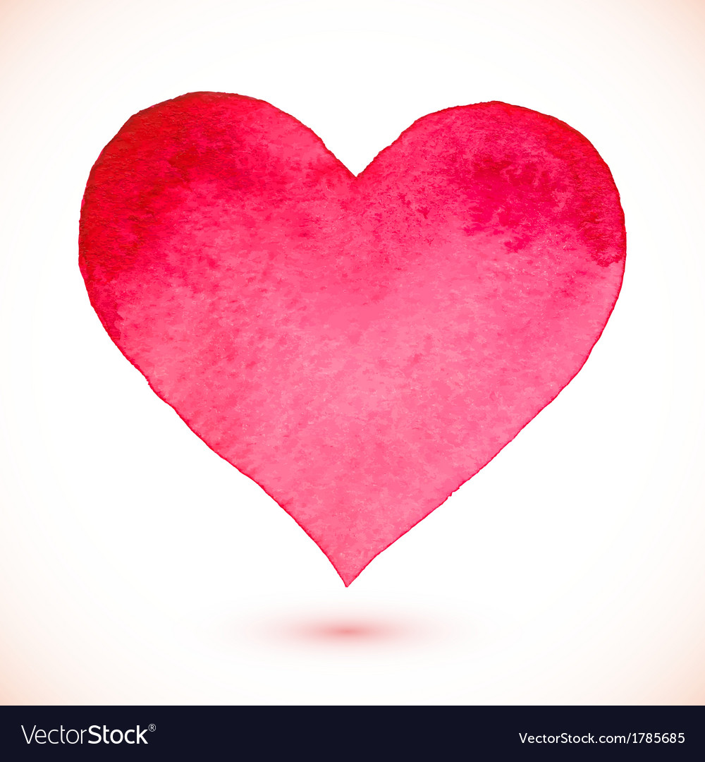 Pink watercolor painted isolated heart vector