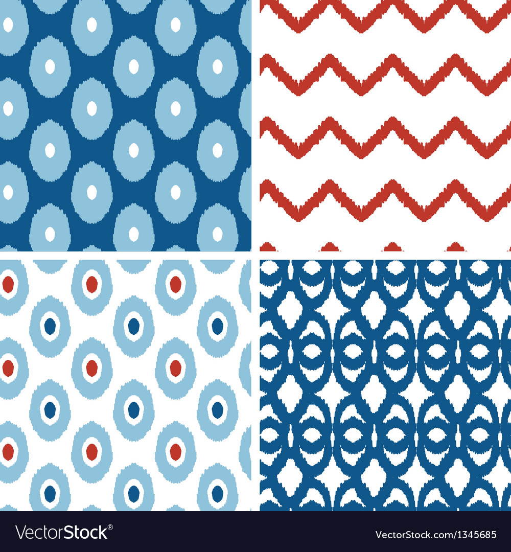Set of blue and red ikat geometric seamless vector | Price: 1 Credit (USD $1)
