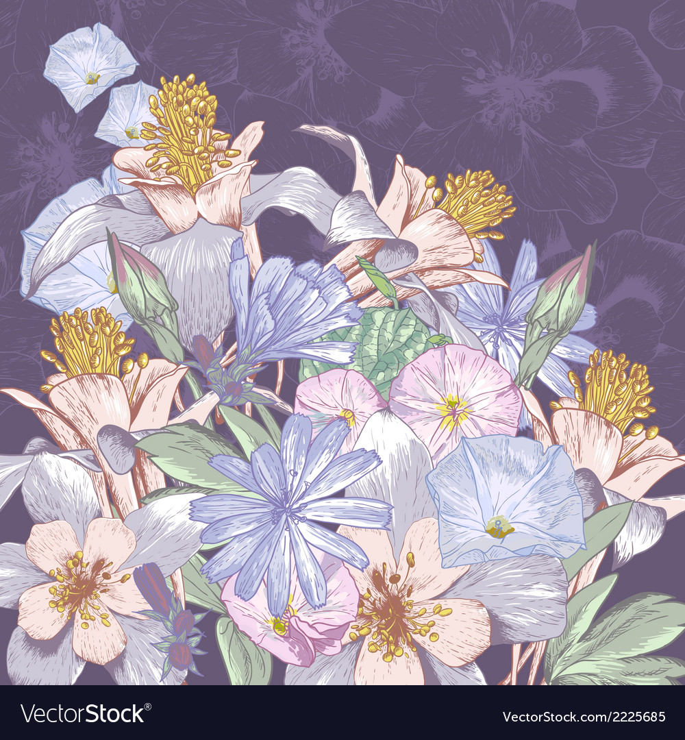 Summer background with wildflowers vector | Price: 1 Credit (USD $1)