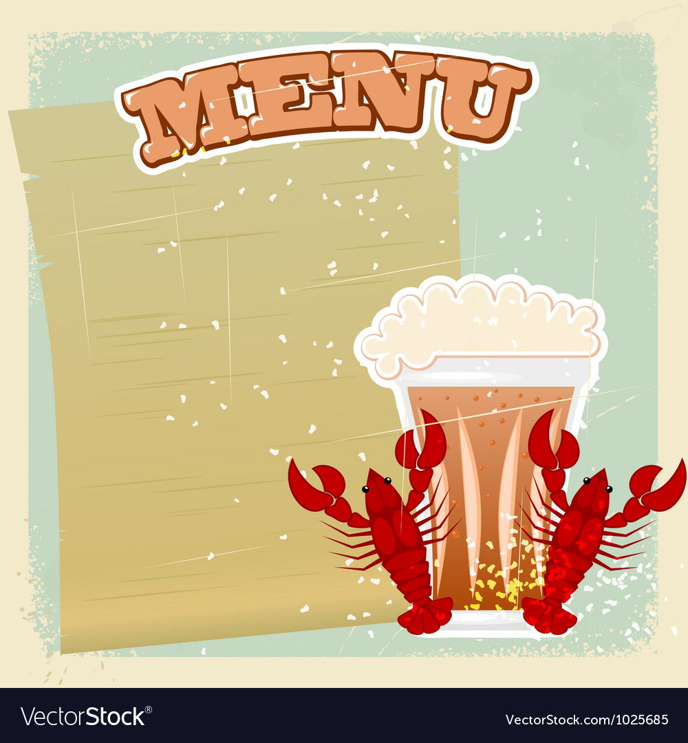 Vintage beer crayfish menu vector | Price: 1 Credit (USD $1)
