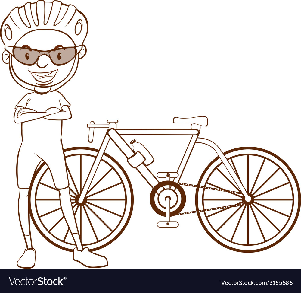 A plain sketch of a cyclist vector | Price: 1 Credit (USD $1)