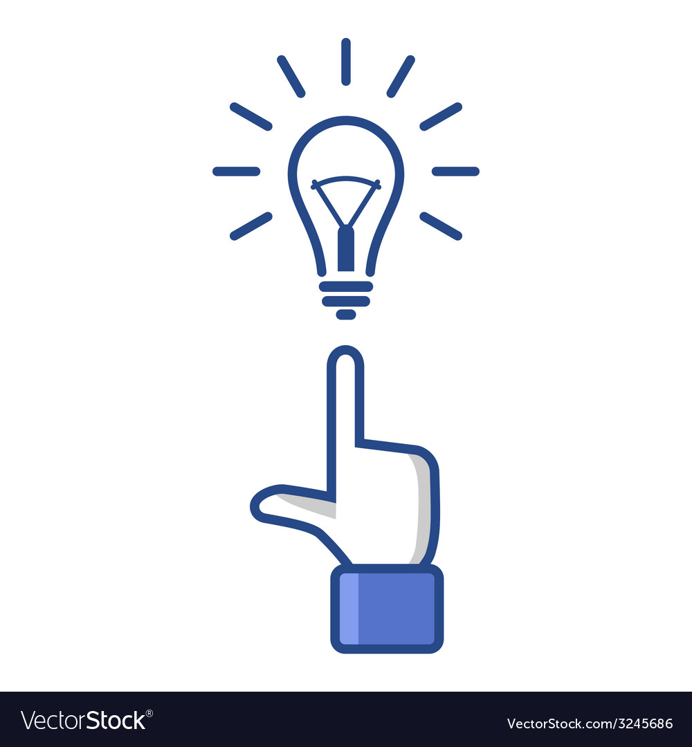 Concept idea forefinger pointing at light bulb vector | Price: 1 Credit (USD $1)
