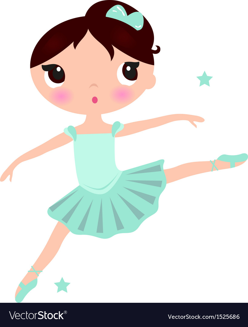 Cute cyan ballerina girl isolated on white vector | Price: 1 Credit (USD $1)