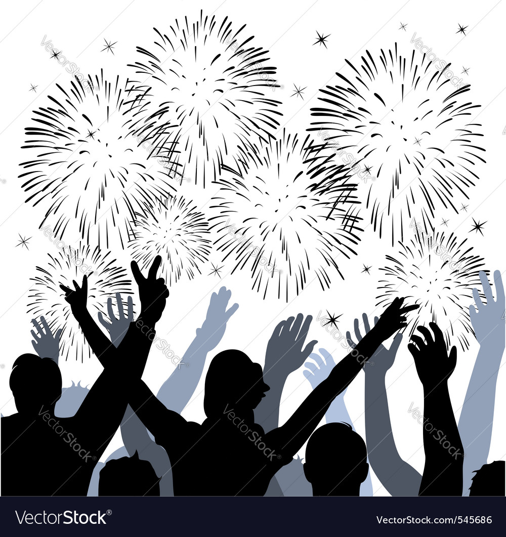 Fireworks with silhouettes of happy people vector | Price: 1 Credit (USD $1)