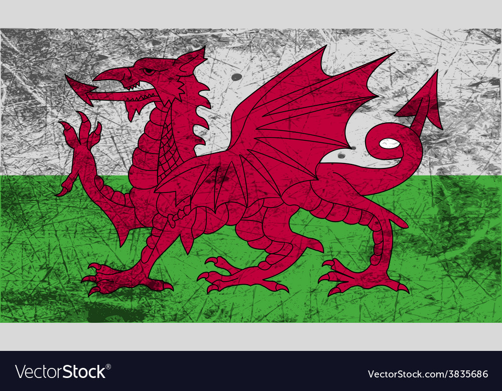 Flag of wales with old texture vector | Price: 1 Credit (USD $1)