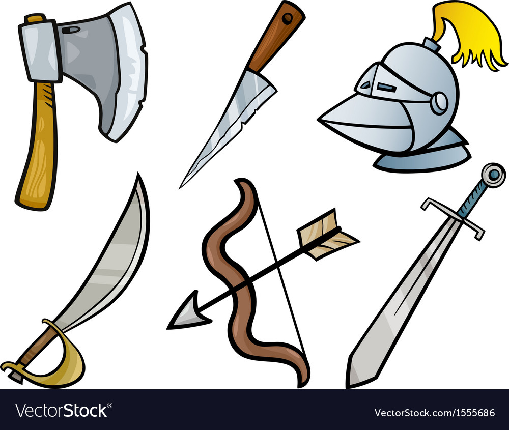 Old weapons objects cartoon set vector | Price: 1 Credit (USD $1)