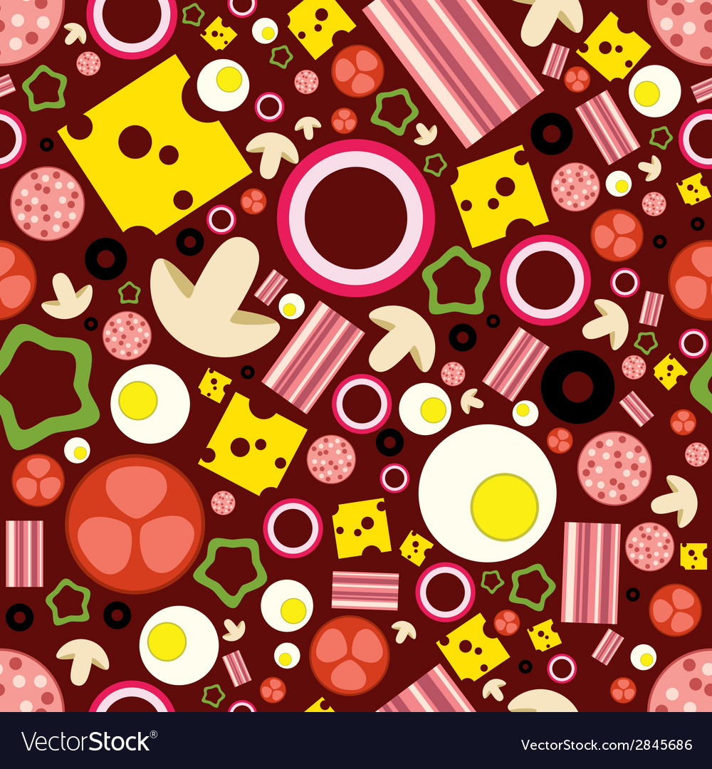 Pizza ingredients seamless pattern vector | Price: 1 Credit (USD $1)