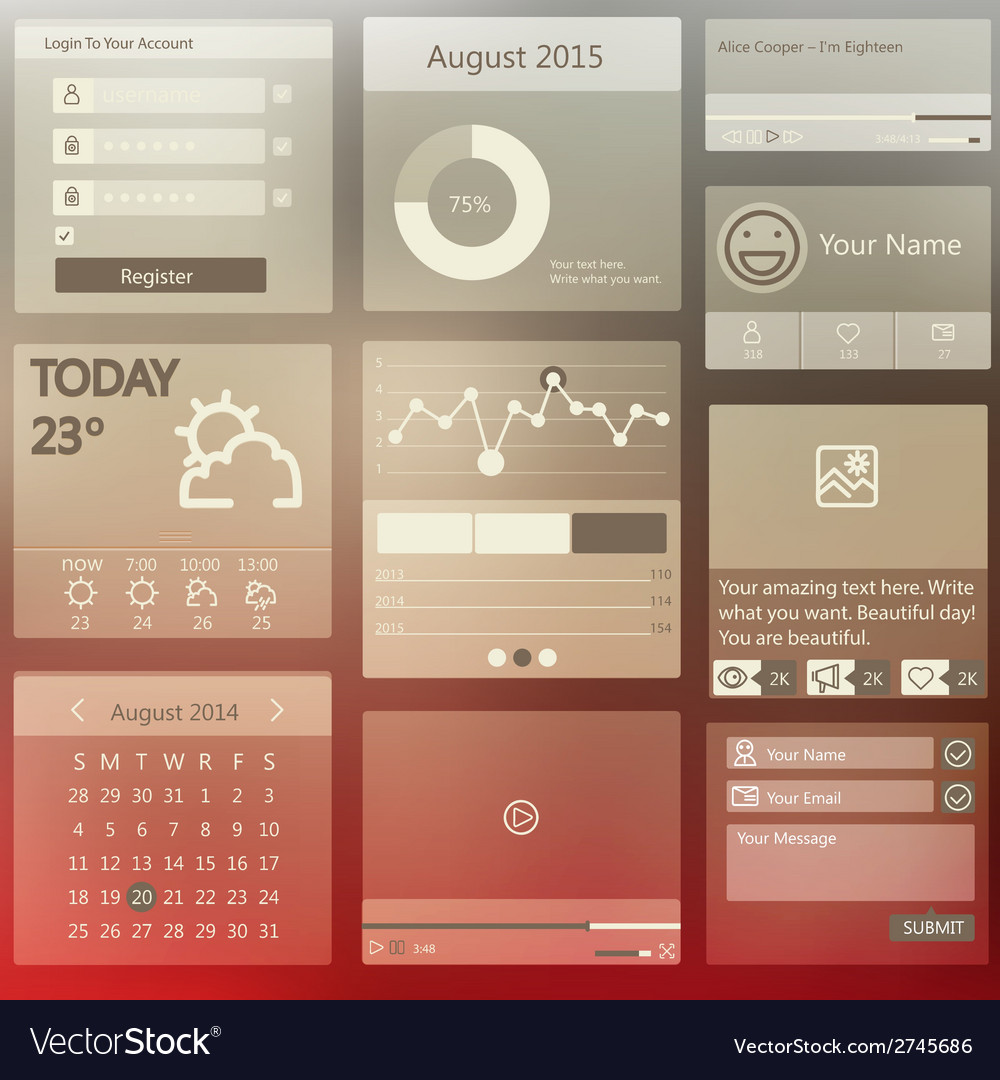 Set elements used for user interface vector