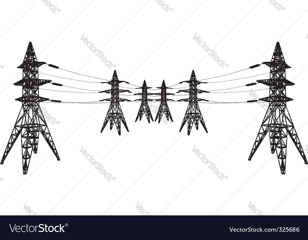 silhouette of power lines vector | Price: 1 Credit (USD $1)