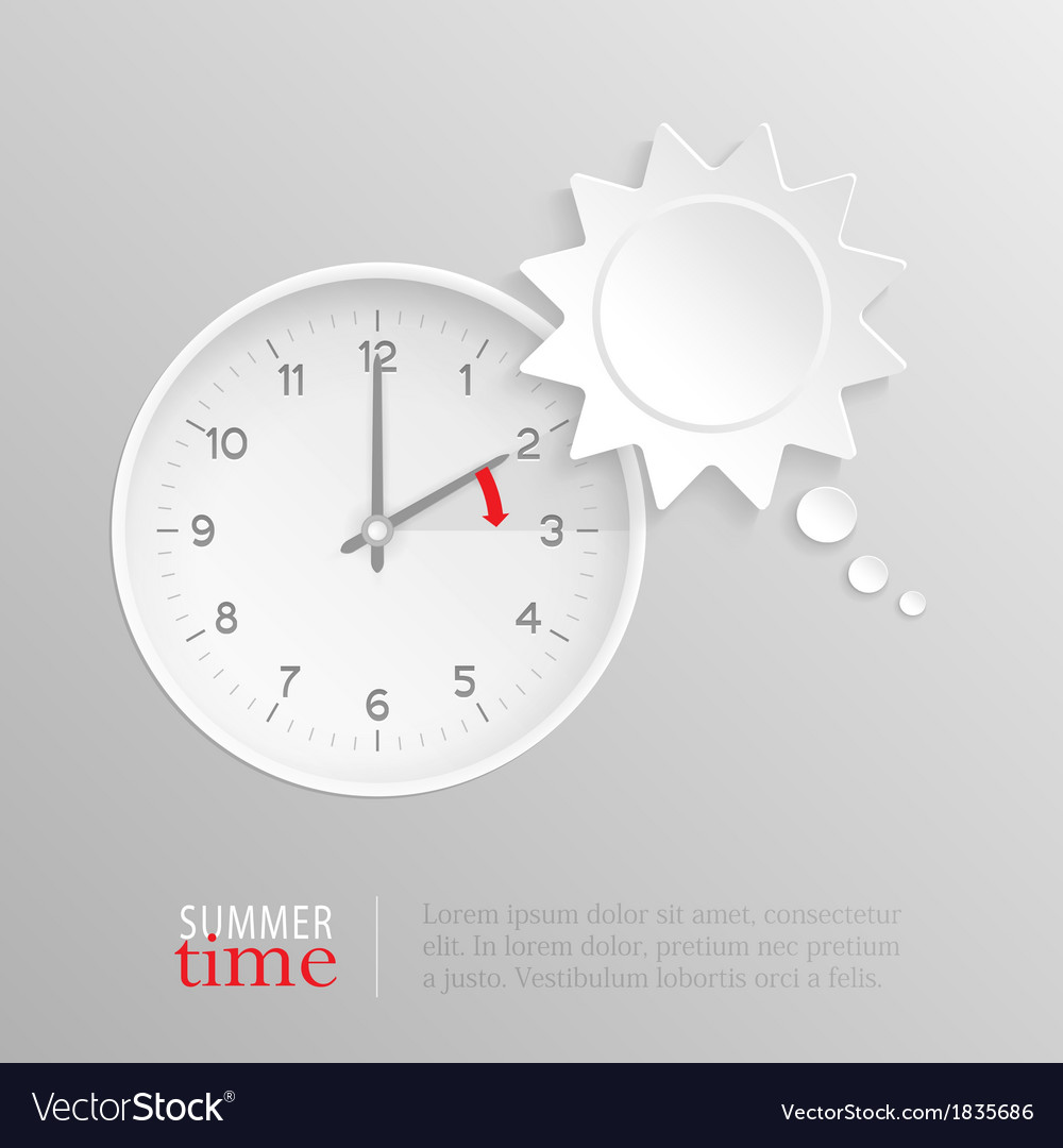Summer time change clock with sun speech bubble vector | Price: 1 Credit (USD $1)