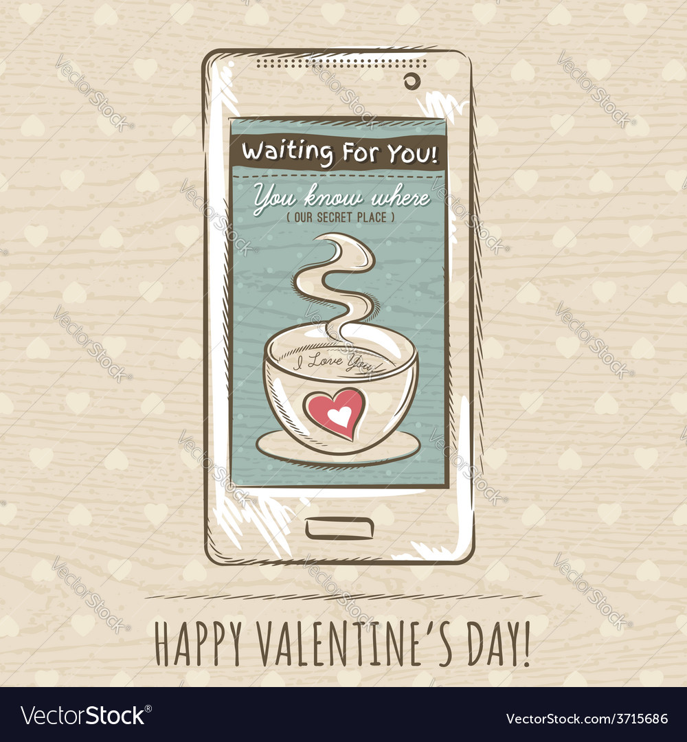 Valentine card with smartphone vector | Price: 1 Credit (USD $1)