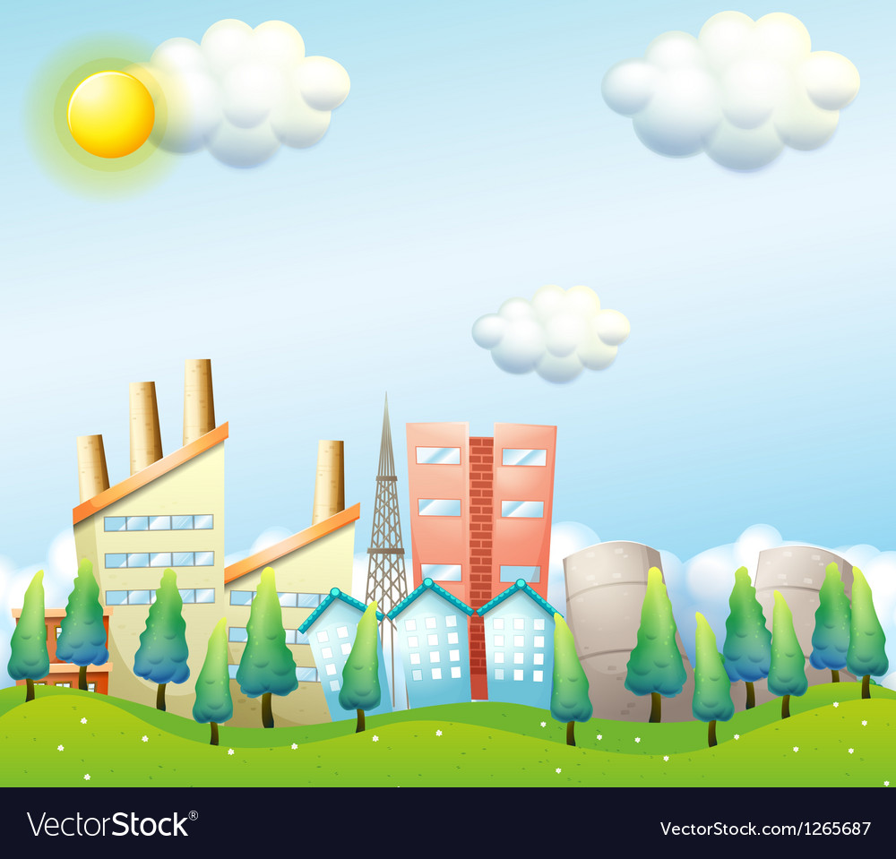 A productive city under the heat of the sun vector | Price: 1 Credit (USD $1)