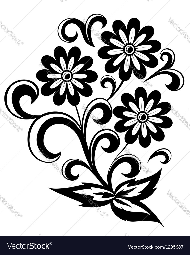 Black and white abstract flower with leaves vector | Price: 1 Credit (USD $1)