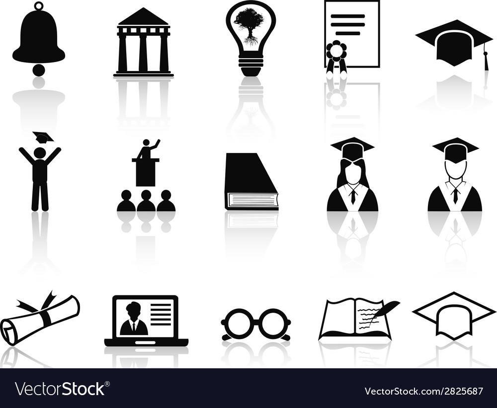 Black college icons set vector