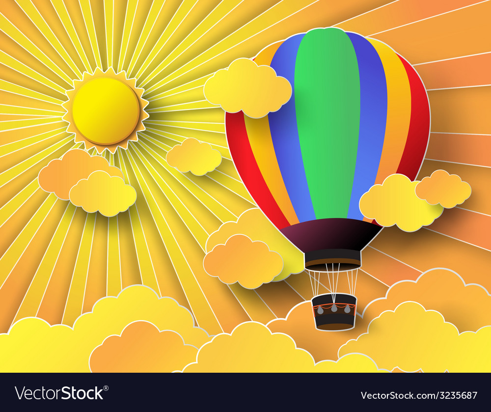 Colurful hot air balloon with sunrise vector | Price: 1 Credit (USD $1)