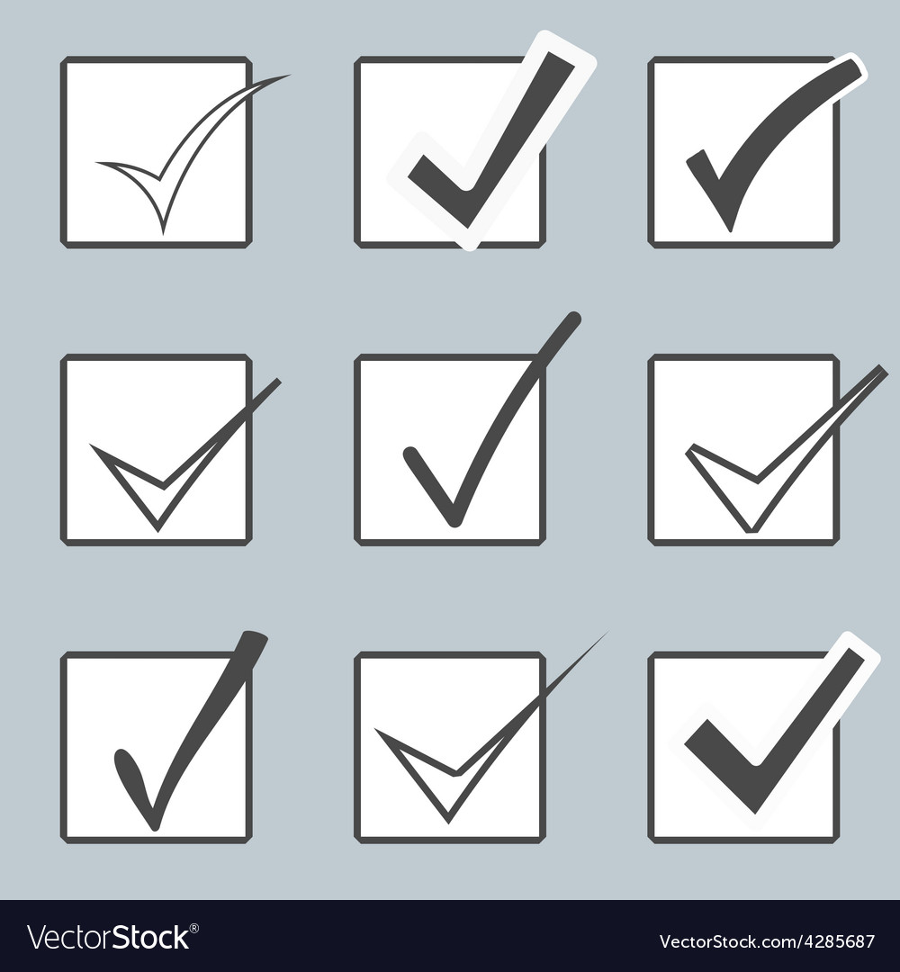 Confirm icons set yes icon check mark vector | Price: 1 Credit (USD $1)