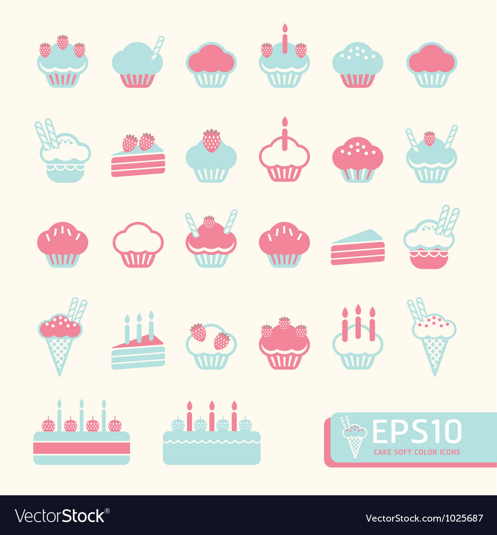 Cup cake soft color vector | Price: 1 Credit (USD $1)