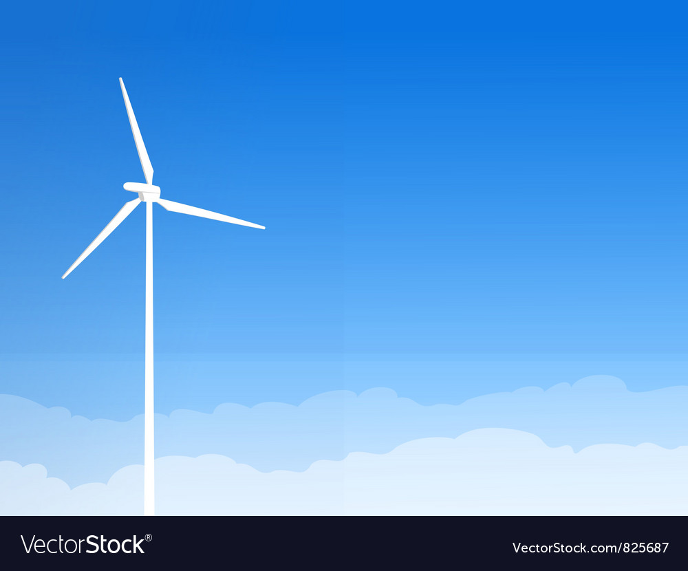 Eco wind turbine and blue sky vector | Price: 1 Credit (USD $1)