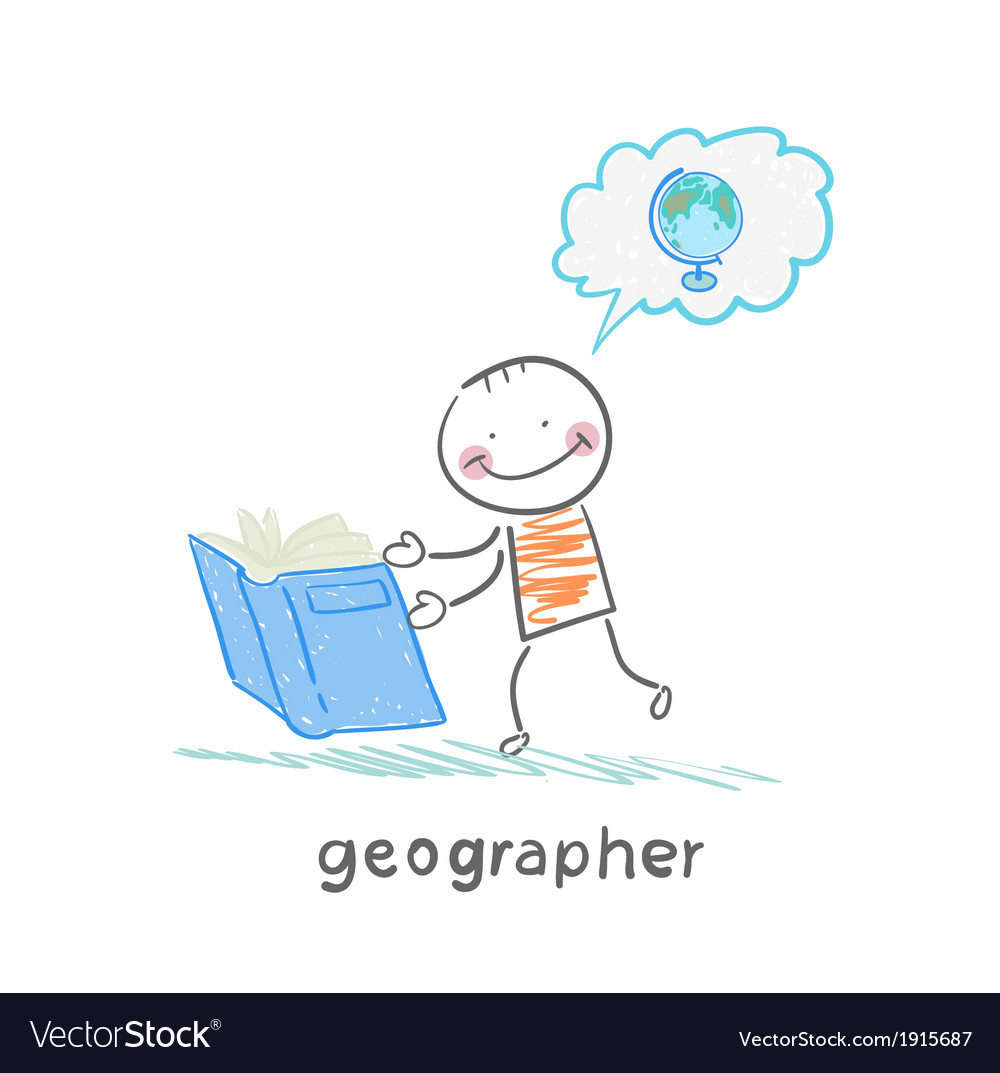 Geographer reading a book about the planet vector | Price: 1 Credit (USD $1)