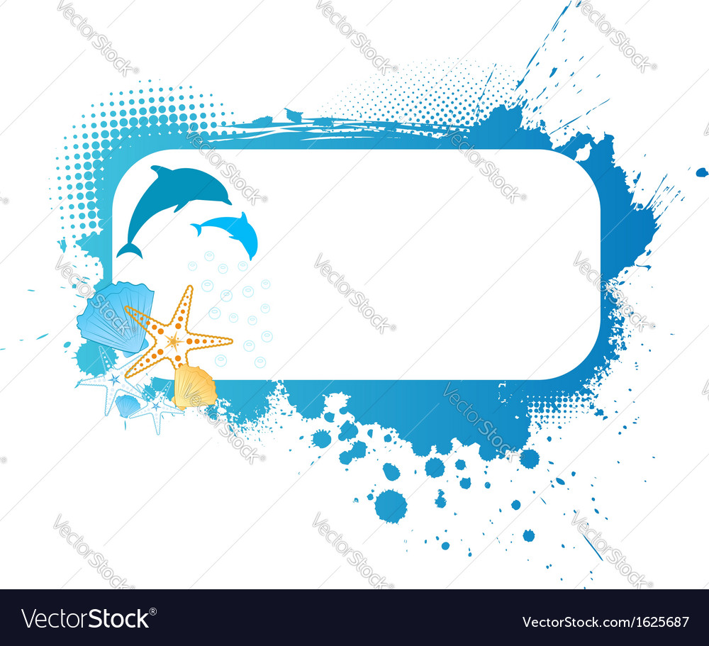 Grunge frame with sea decoration vector