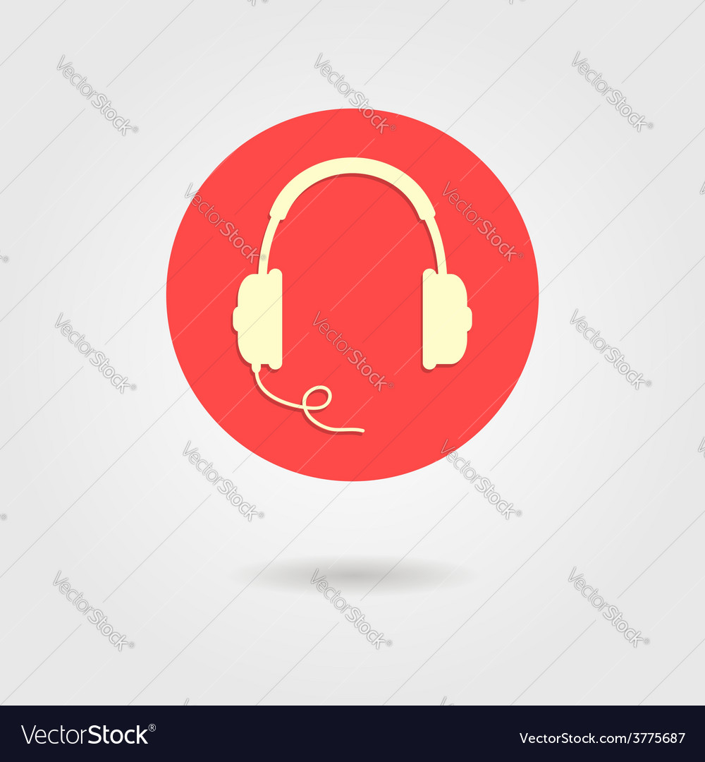Headphones icon in red circle vector | Price: 1 Credit (USD $1)