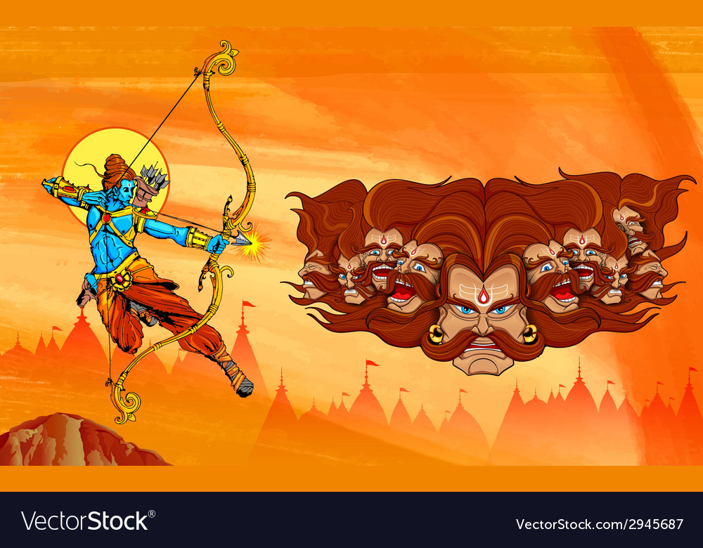Lord rama with bow arrow killimg ravana vector | Price: 3 Credit (USD $3)