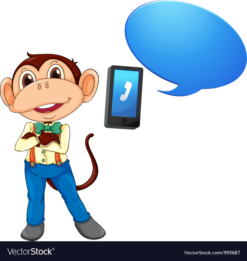 Monkey with cell phone vector | Price: 3 Credit (USD $3)