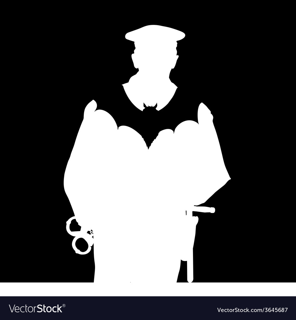 Policeman with bat silhouette vector | Price: 1 Credit (USD $1)