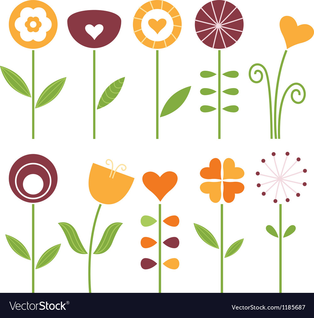 Retro cute spring flowers set isolated on white vector | Price: 1 Credit (USD $1)