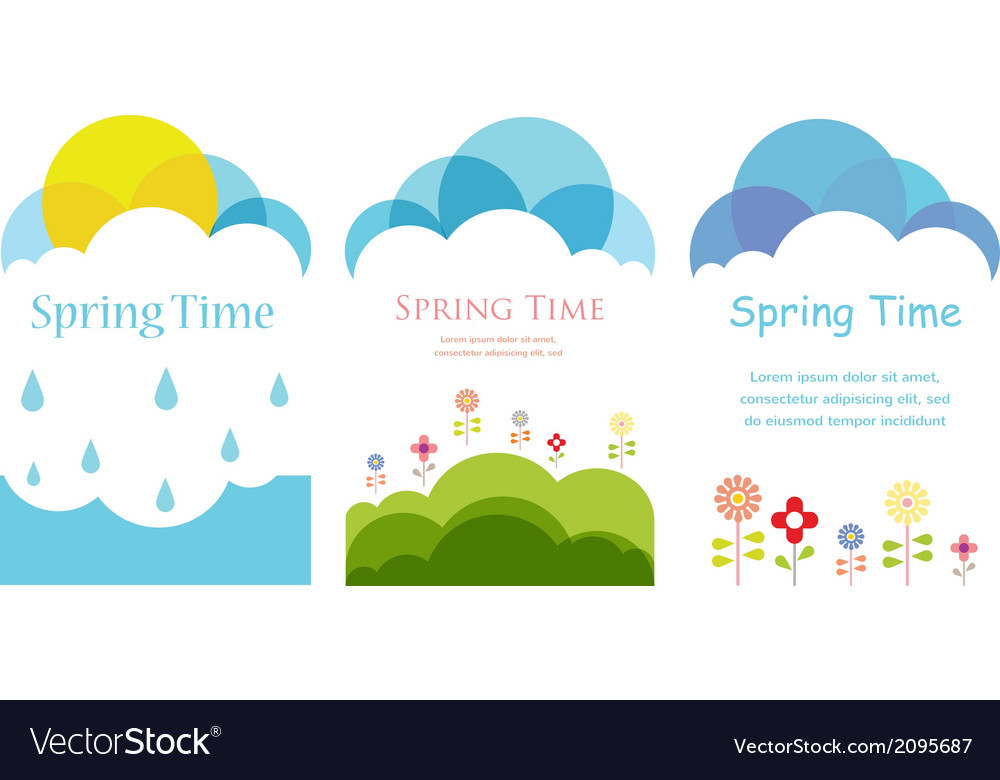 Spring time three cards with clouds sun and vector | Price: 1 Credit (USD $1)