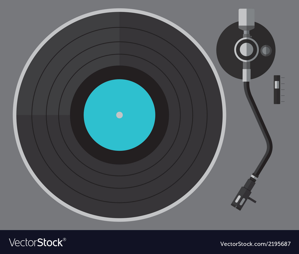 Vinyl turntable flat design vector | Price: 1 Credit (USD $1)