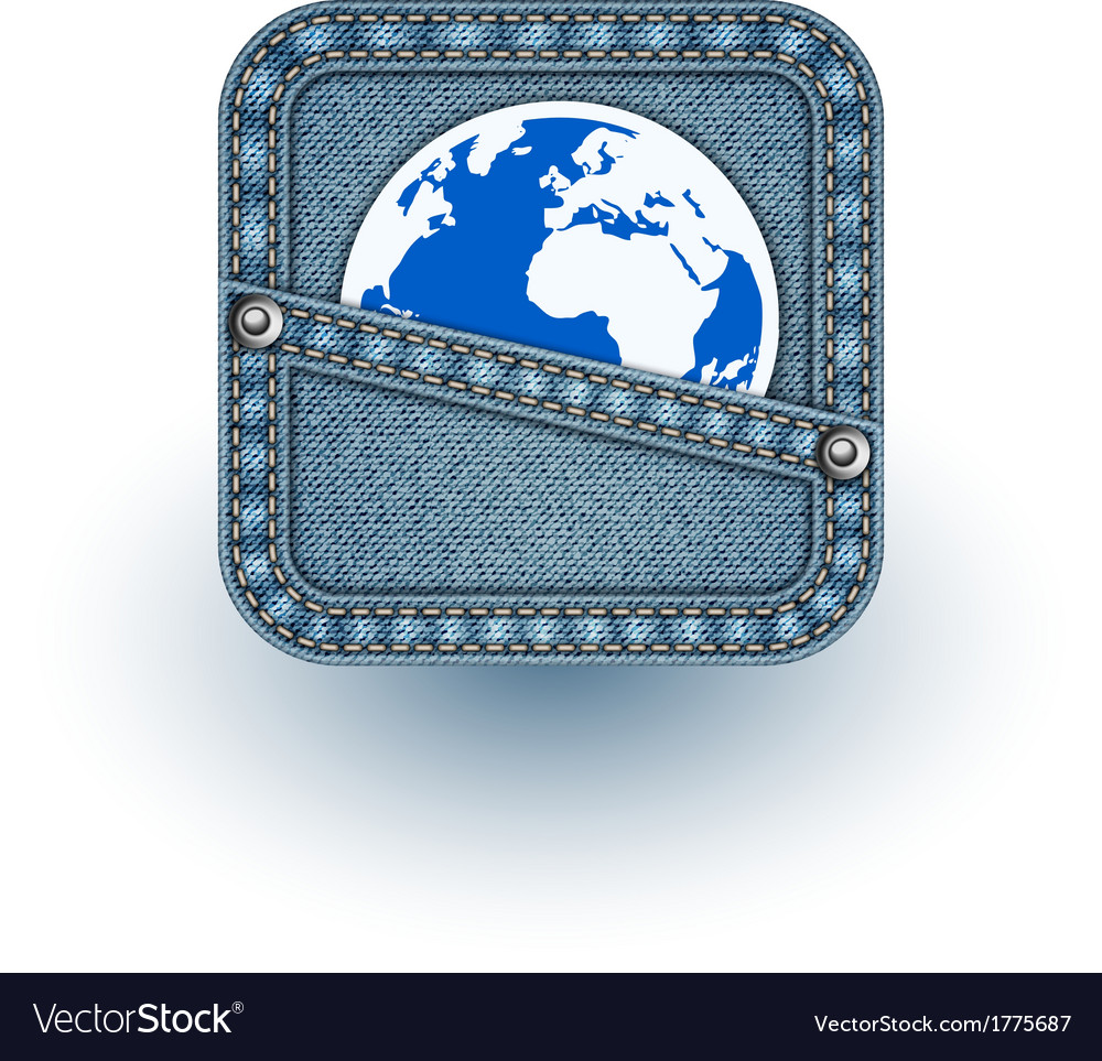 World in pocket realistic denim eps10 vector | Price: 1 Credit (USD $1)