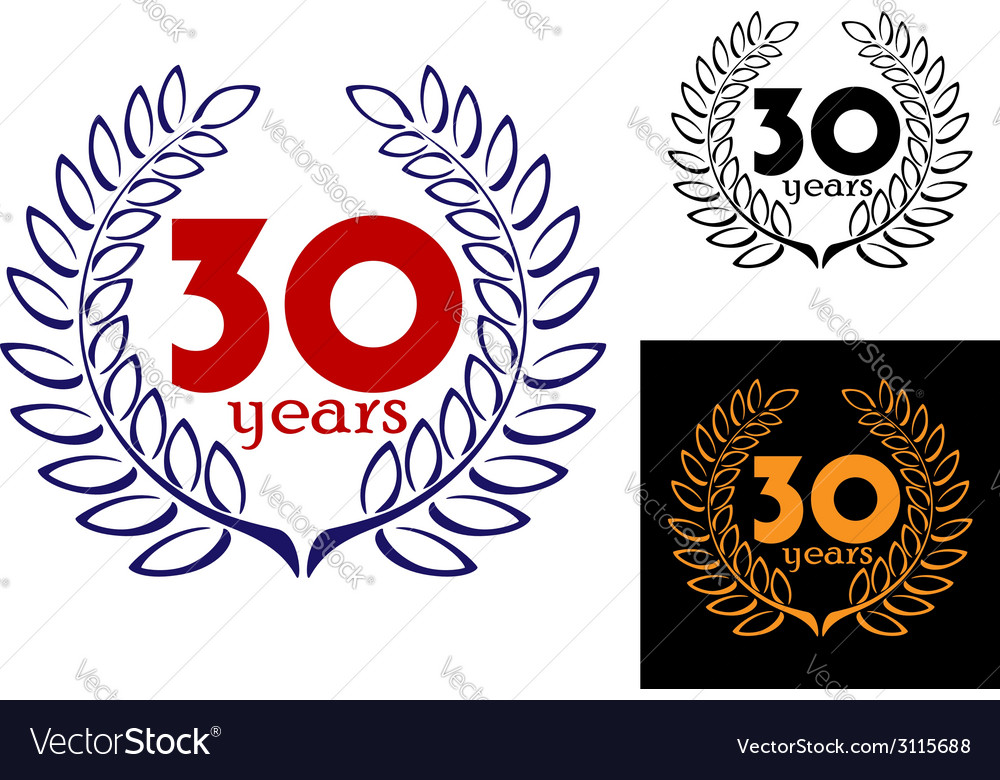 30 years anniversary wreath vector | Price: 1 Credit (USD $1)