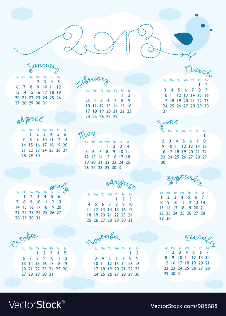 Calendar 2013 sunday vector | Price: 1 Credit (USD $1)