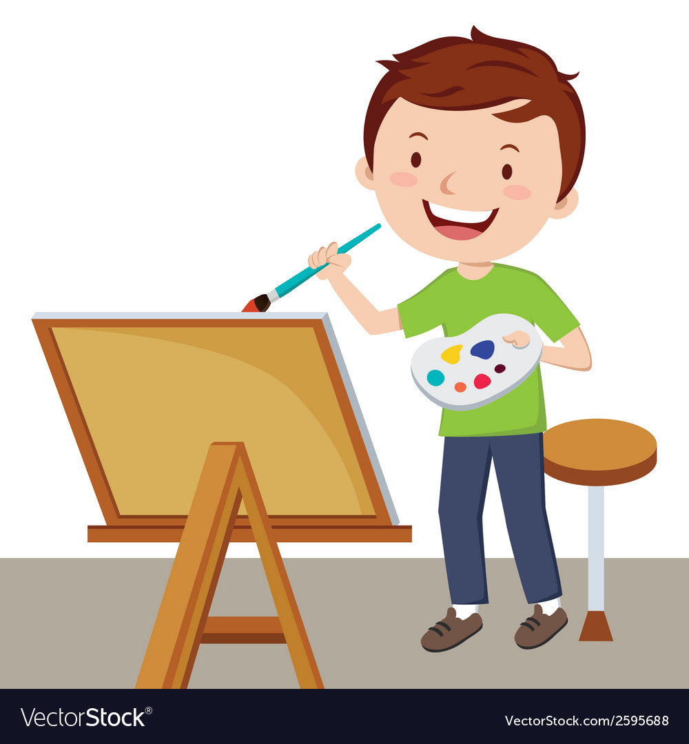Cartoon artist painting vector | Price: 1 Credit (USD $1)