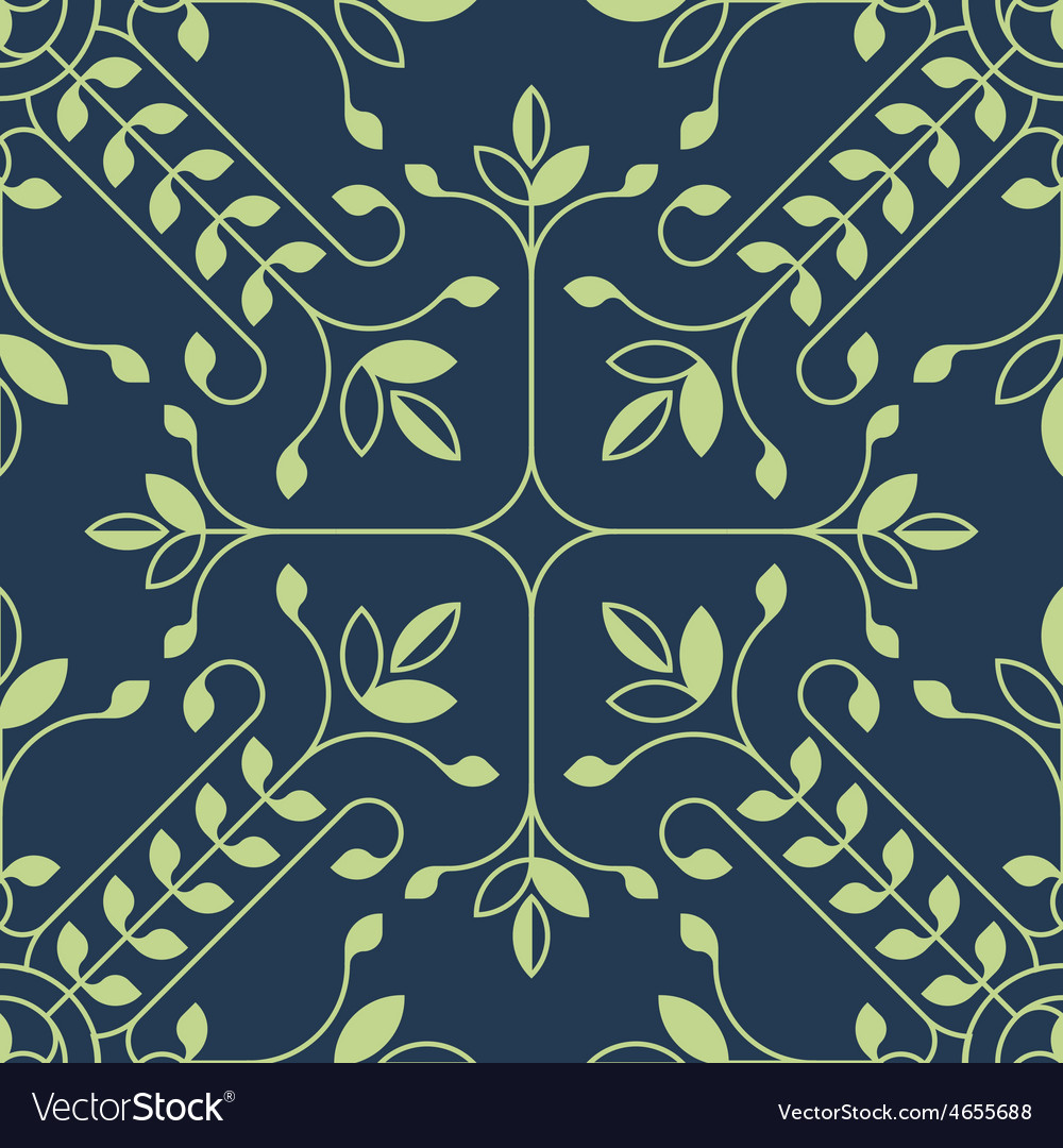 Elegant floral lineart pattern with leafs vector | Price: 1 Credit (USD $1)