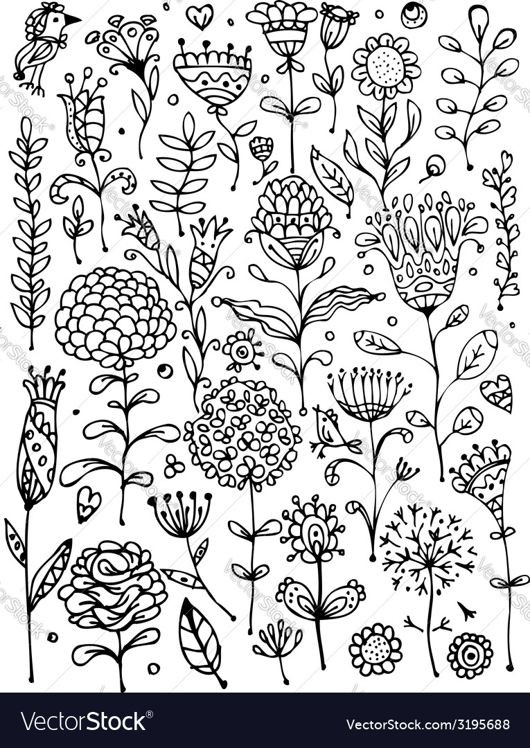 Floral pattern sketch for your design vector | Price: 1 Credit (USD $1)