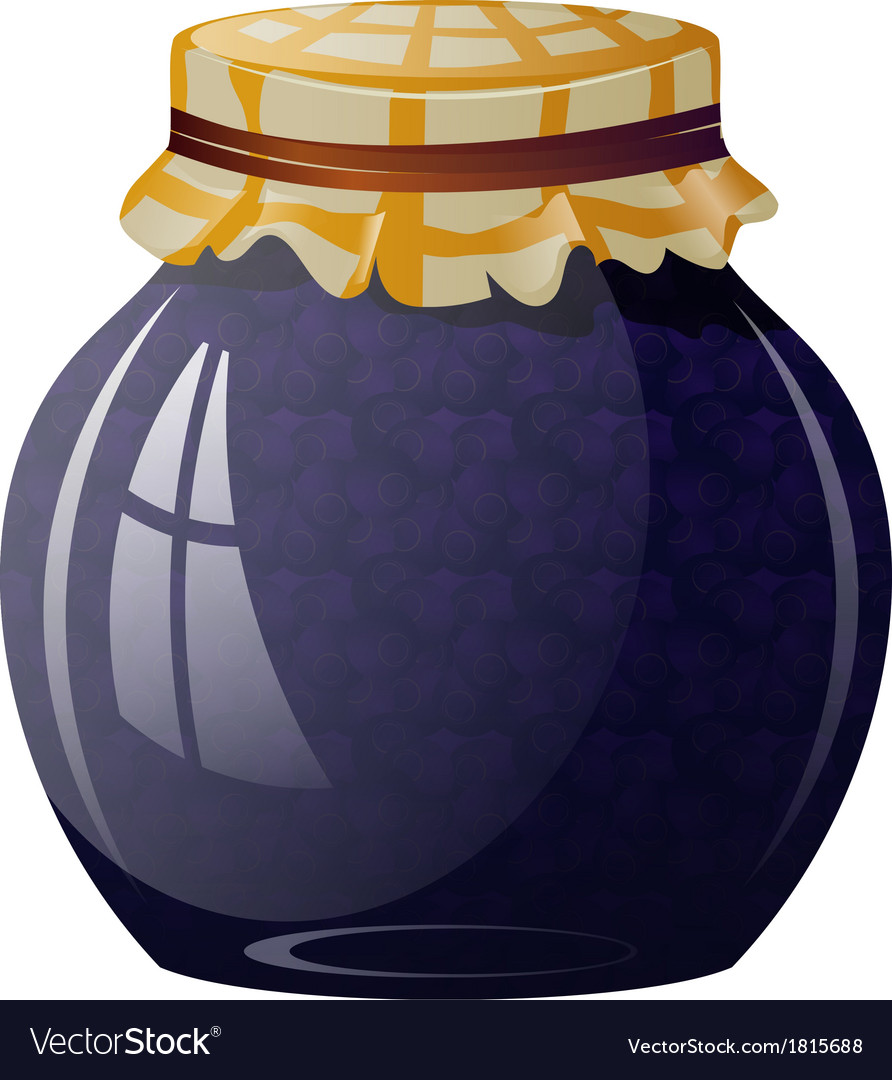 Glass jar with blueberry jam vector | Price: 1 Credit (USD $1)