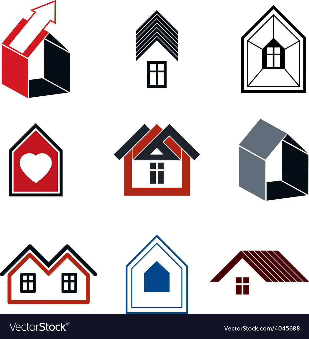 Houses abstract icons for use in advertising vector | Price: 1 Credit (USD $1)